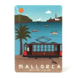 Souvenir de Mallorca, imán metálico magnético, puerto & tren de Sóller