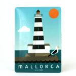 Souvenir de Mallorca, imán metálico magnético, faro de Portocolom