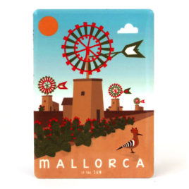 Mallorca Souvenir, Vintage Metal Magnet Windmills & Hoopoe