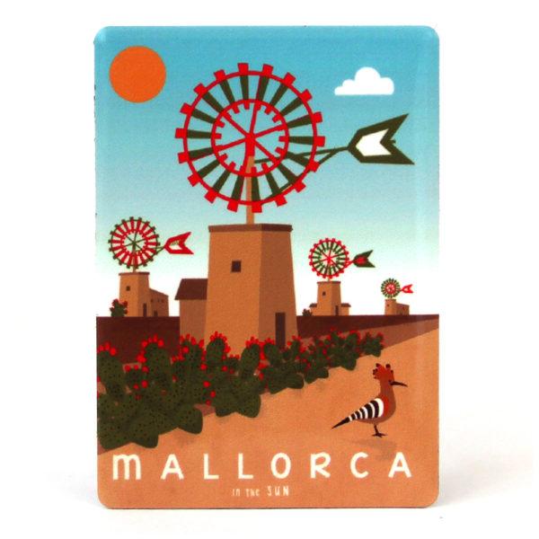 Souvenir de Mallorca, imán metálico magnético, molinos & puput