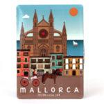 Souvenir de Mallorca, imán metálico magnético, Palma & Catedral