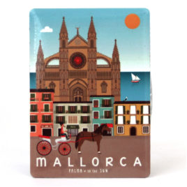 Mallorca Souvenir, Vintage Metal Magnet, Palma & Cathedral