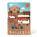 Souvenir de Mallorca, imán metálico magnético, mercado de Santanyi