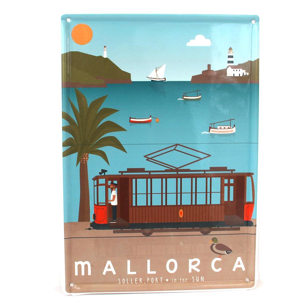 Souvenir de Mallorca, placa decorativa vintage del puerto de Sóller