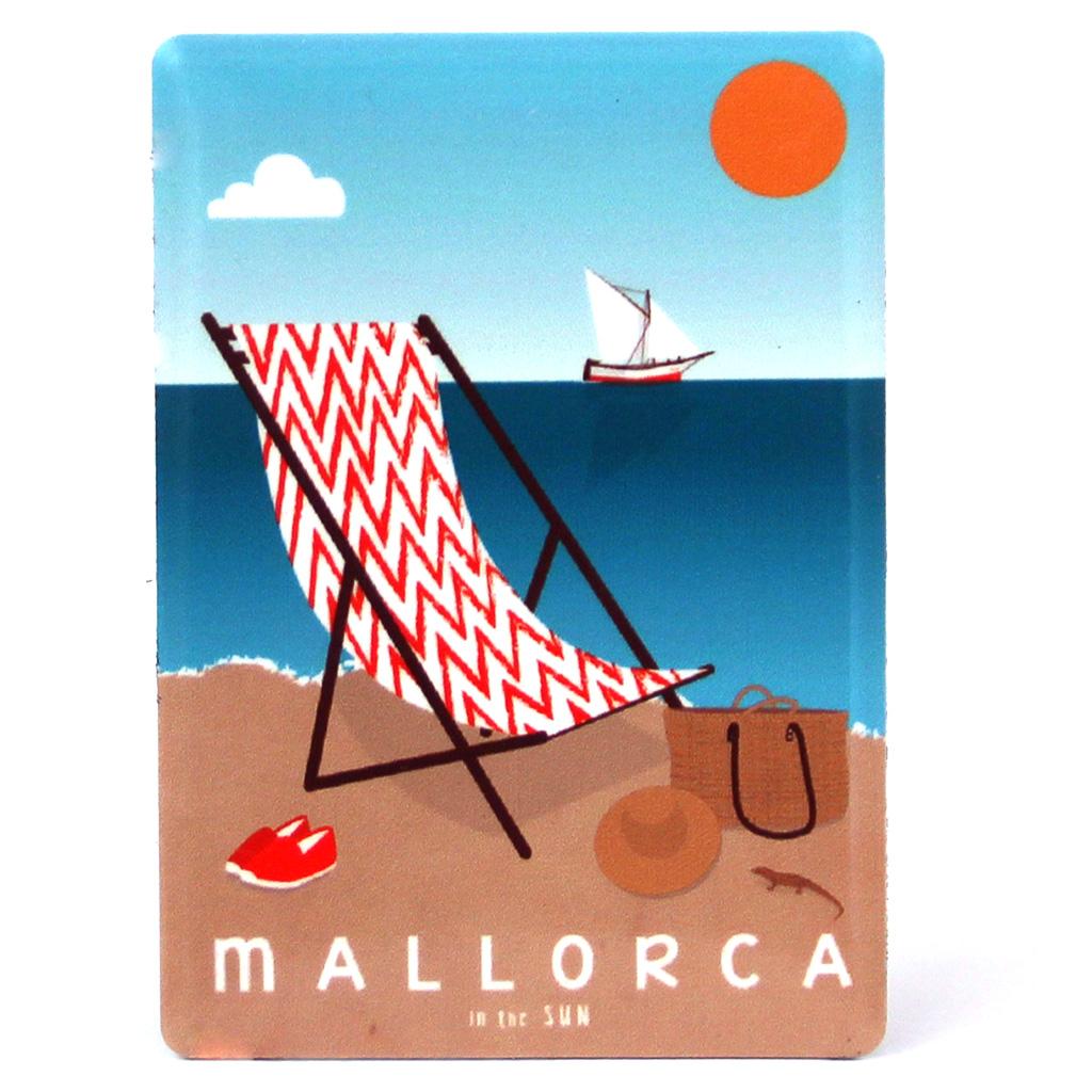 Souvenir de Mallorca, imán metálico magnético, playa d'es Trenc