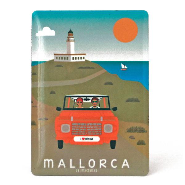 Souvenir de Mallorca, imán metálico magnético, faro & mehari