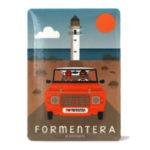 Souvenir de Formentera, imán metálico de faro de Cap de Bavaria & mehari