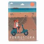 Souvenir de Formentera, imán metálico de la playa de Illetes & vespa