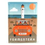 Souvenir de Formentera, placa decorativa vintage del faro de Barbaria & mehari