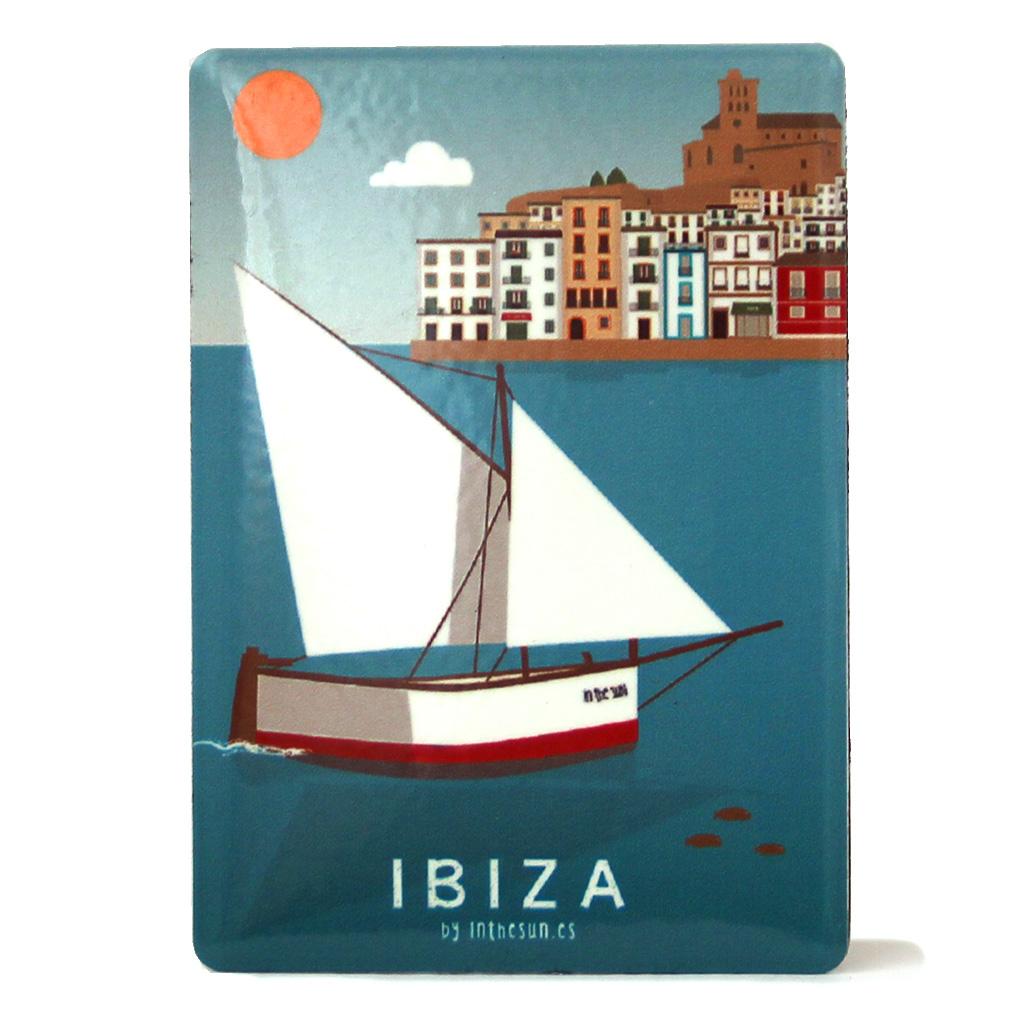 Souvenir de Ibiza, imán metálico de Dalt Vila