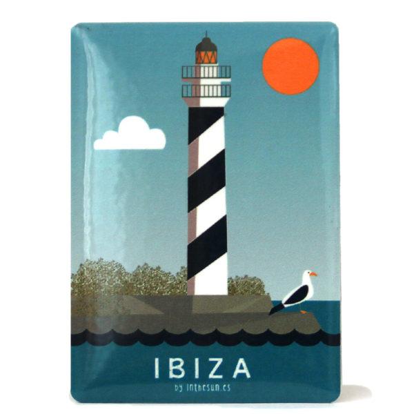 Souvenir de Ibiza, imán metálico del faro de Portinatx