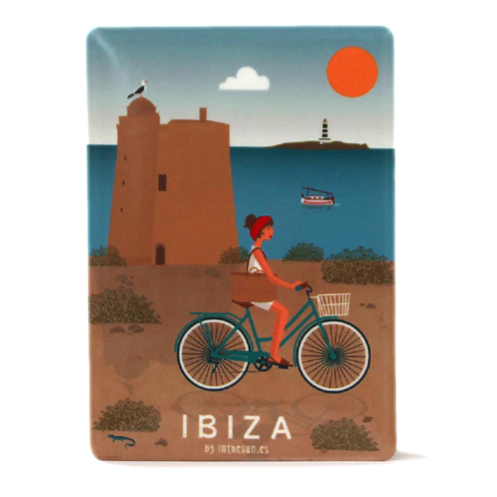 Souvenir de Ibiza, imán metálico de la torre de Ses Portes
