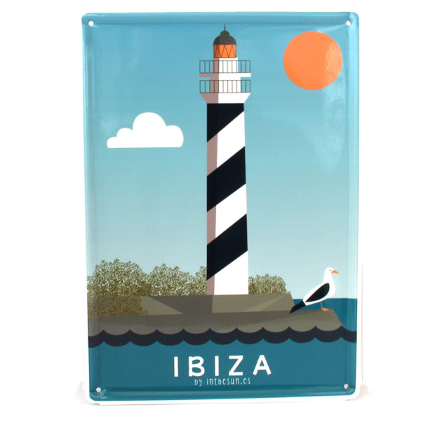Ibiza Souvenir, Vintage Decorative Metal Sign Portinatx Lighthouse