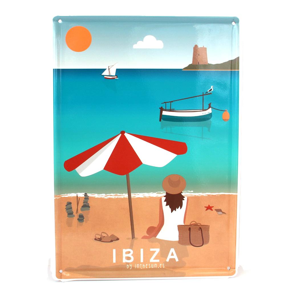 Souvenir de Ibiza, placa decorativa vintage de la playa de Ses Salines