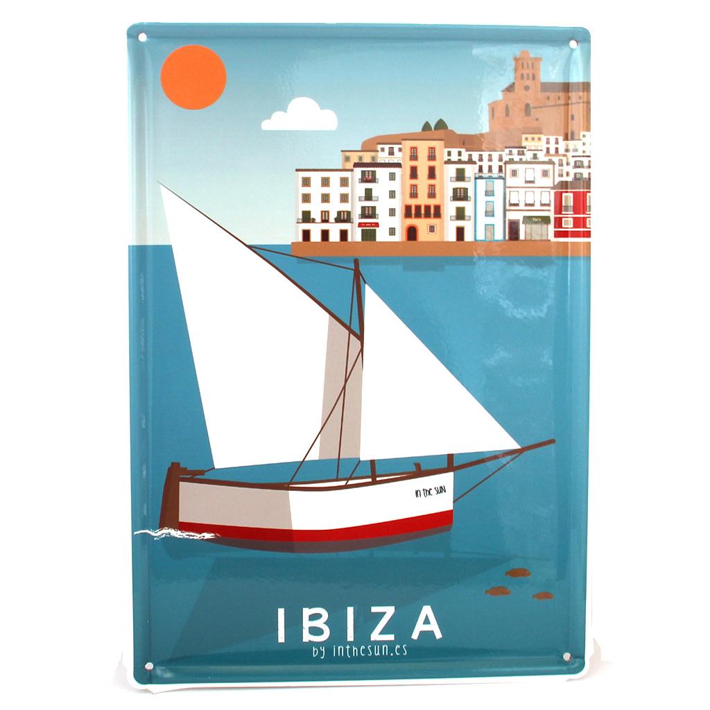 Souvenir de Ibiza, placa decorativa vintage del puerto y dalt Vila