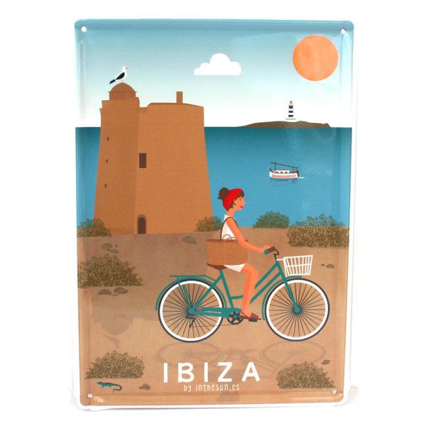 Souvenir de Ibiza, placa decorativa vintage de la torre de Ses Portes