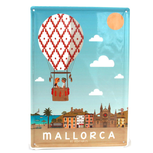 Mallorca Souvenir, Vintage Decorative Metal Sign A Mallorca Balloon Ride