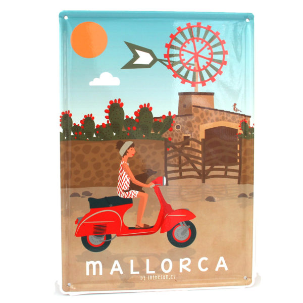 Mallorca Souvenir, Vintage Decorative Metal Sign Windmill & Vespa