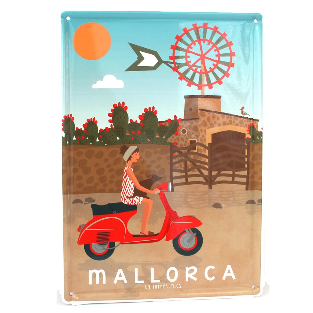 Souvenir de Mallorca, placa decorativa vintage vespa&molino