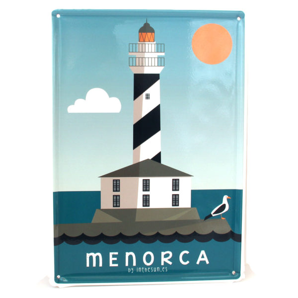 Menorca Souvenir, Vintage Decorative Metal Sign Favaritx Lighthouse
