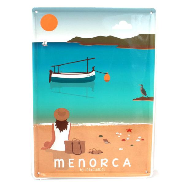 Souvenir de Menorca, placa decorativa vintage de la playa de Cavallería