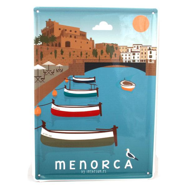 Souvenir de Menorca, placa decorativa vintage del Port de Ciutadella