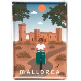 Mallorca Blechschild, Bellver Schloss & Vespa