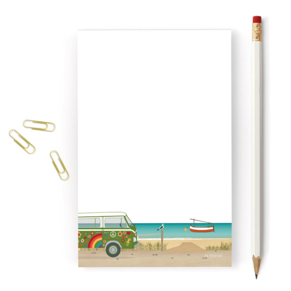 Balearic Islands Notepad, Beach & Hippie Van