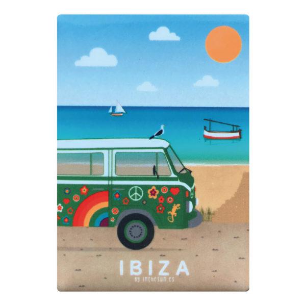 Imán recuerdo de Ibiza, hippie furgo & playa