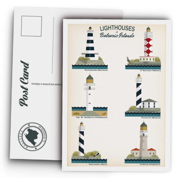 Postal de Mallorca, faros de las Islas Baleares