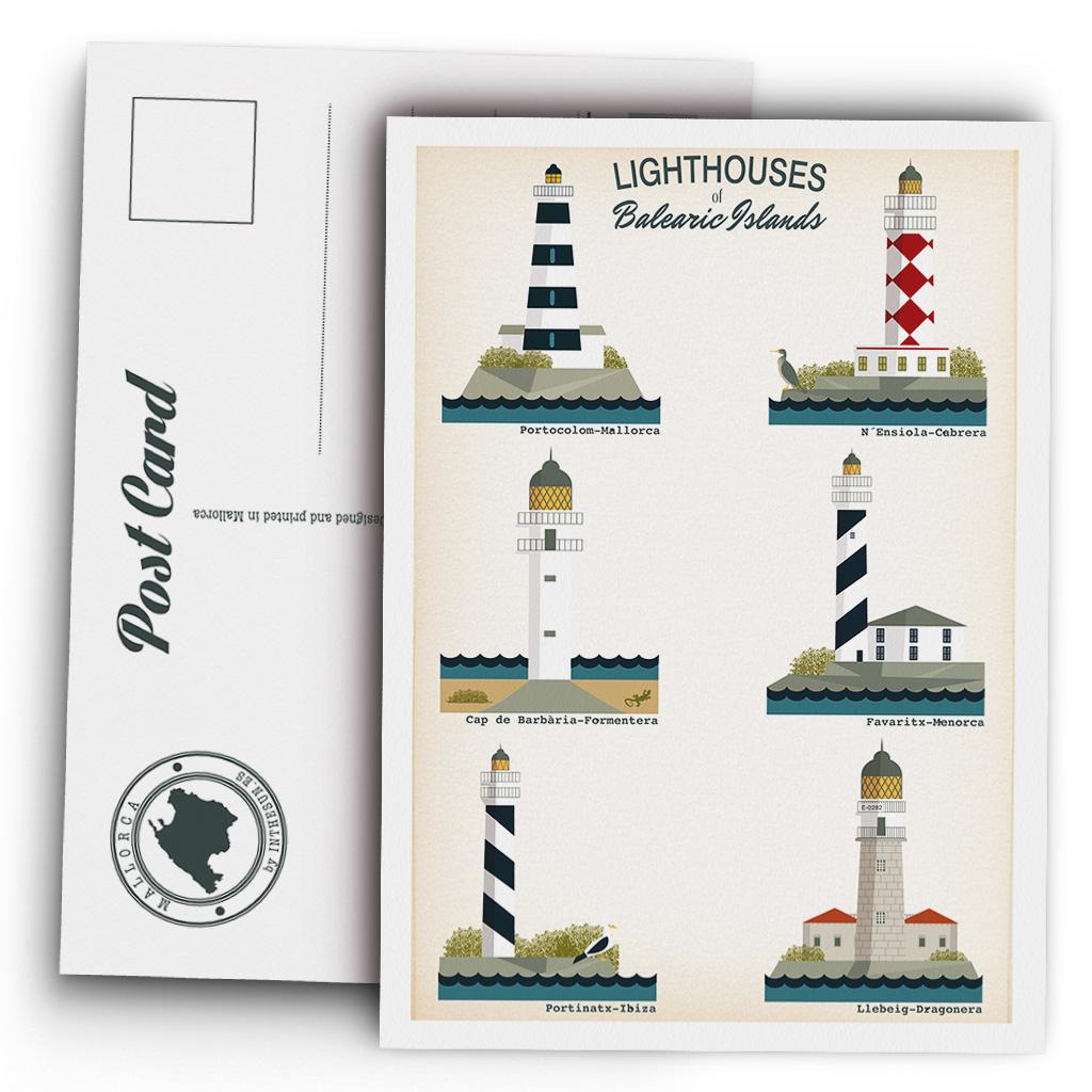 Postcard, Balearic Islands Lighthouses
