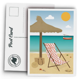 Mallorca Postcard, Beach, hammock and llaüt
