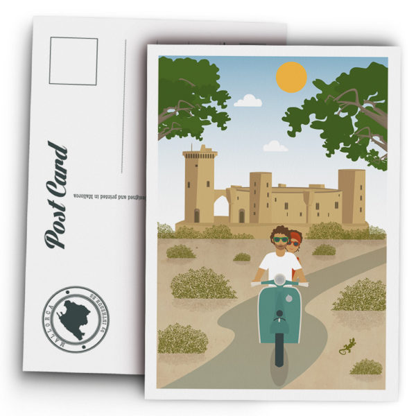 Postal Mallorca, Castillo de Bellver & vespa