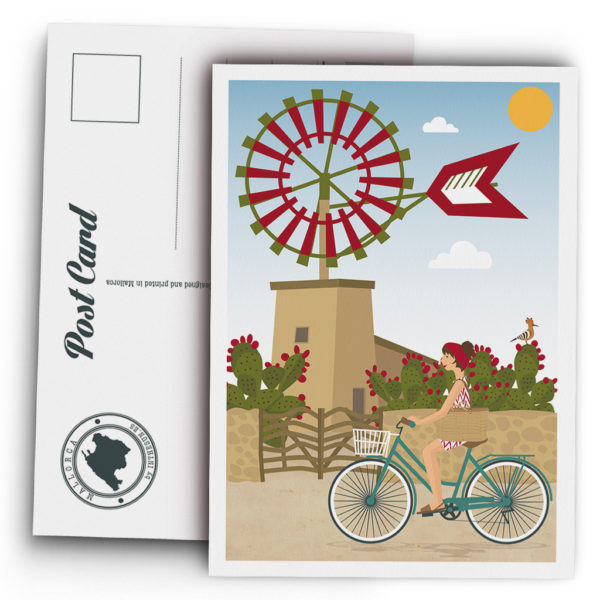 Mallorca Postcard, Majorcan windmill and bicycle