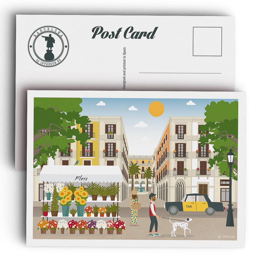 Postal de Barcelona, La Rambla y la Plaza Real