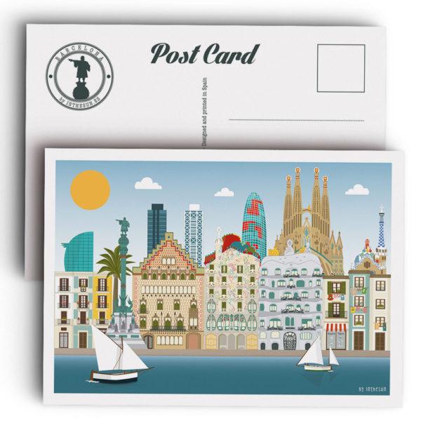 Postal de Barcelona, skyline y monumentos