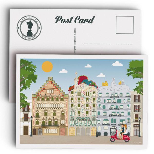 Postal de Barcelona, el paseo de Gracia y sus edificios modernistas