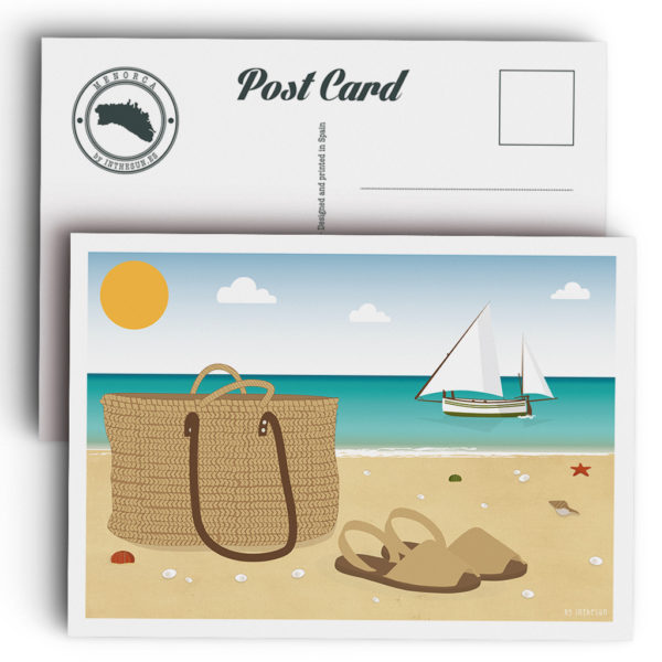 Menorca postcard, Abarcas & basket bag in the beach