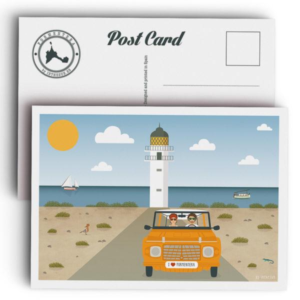 Postal Formentera, faro de Cap de Barbaria