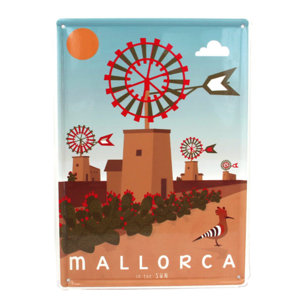 Mallorca metal sign, Windmills & Hoopoe