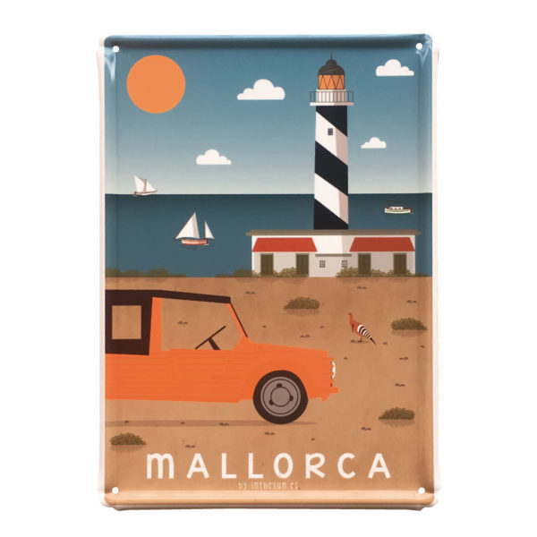 Mallorca metal sign, Cala Figuera Lighthouse & Mehari